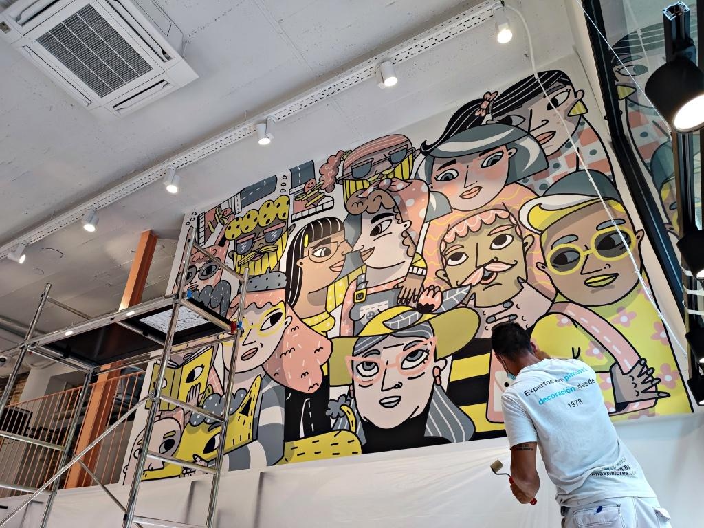 Mural de gran formato en papel pintado